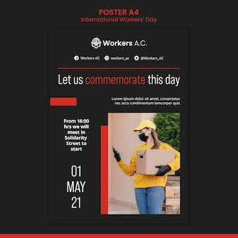 국제 노동자의 날 축하 포스터 템플릿