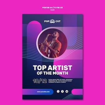 남성 재즈 플레이어와 색소폰 음악 포스터 템플릿