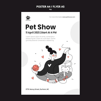 Шаблон плаката для национального дня домашних животных с женщиной-владельцем и домашним животным