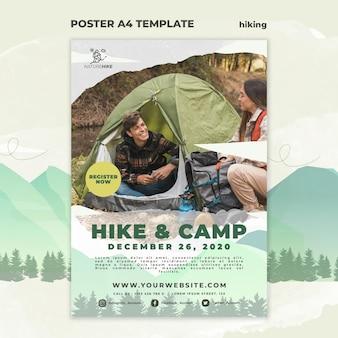 자연 하이킹을위한 포스터 템플릿