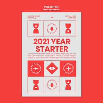 새해 검토 및 동향을위한 포스터 템플릿