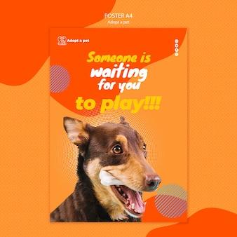 대피소에서 애완 동물 입양 포스터 템플릿