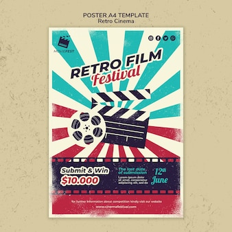 レトロな映画館のポスターテンプレート
