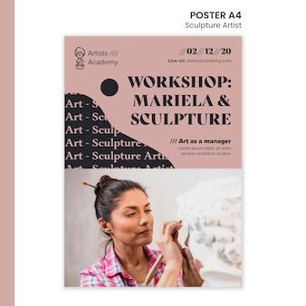 Шаблон плаката для мастерской скульптуры