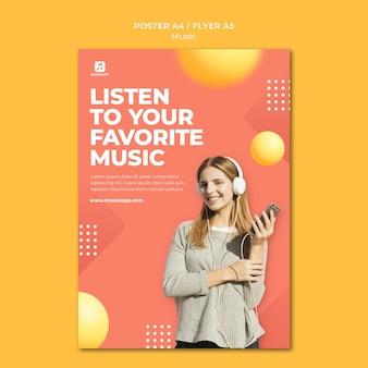 헤드폰을 착용 한 여성과 온라인으로 음악을 스트리밍하기위한 포스터 템플릿