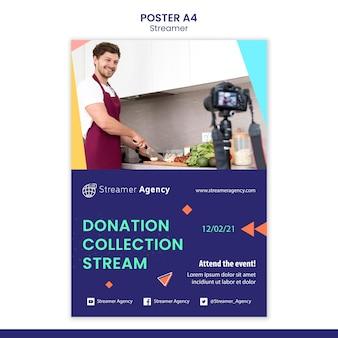 Шаблон плаката для потоковой передачи онлайн-контента