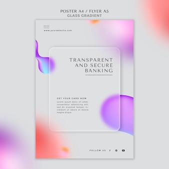 透明で安全な銀行のためのポスターテンプレート