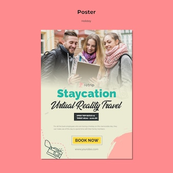 Шаблон плаката для праздничной поездки в виртуальной реальности