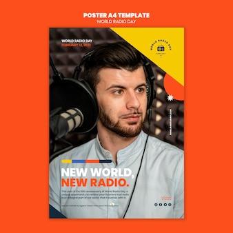 放送局とマイクを備えた世界のラジオの日のポスターテンプレート