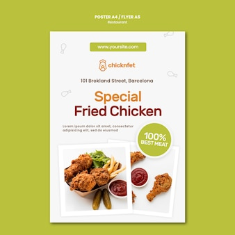 Poster template for fried chicken dish restaurant