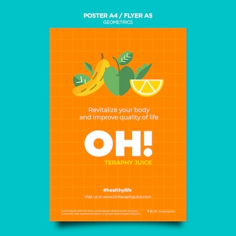 Poster template for fruit smoothies recipes