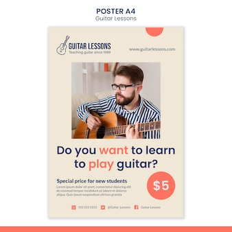 Poster template for guitar lessons