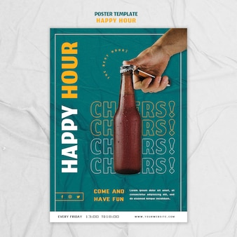 Modello di poster per l'happy hour