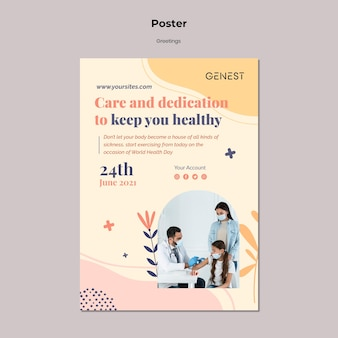 Poster template for healthcare with people wearing medical mask