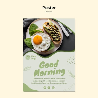 Poster template for healthy breakfast Premium Psd