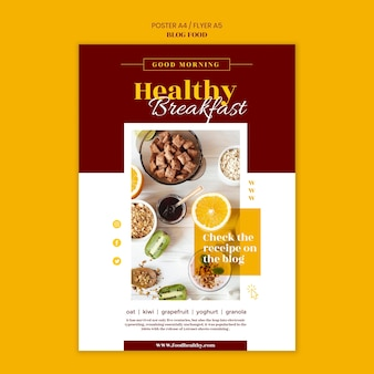 Poster template for healthy food recipes blog