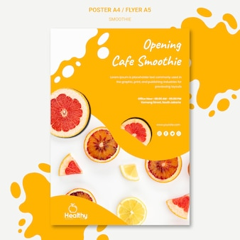 Poster template for healthy fruit smoothies
