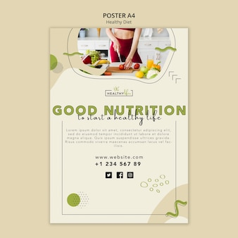 Poster template for healthy nutrition