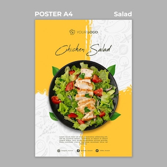 Poster template for healthy salad lunch