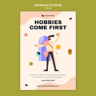 Poster template for hobbies and passions
