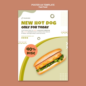 Poster template for hot dog restaurant