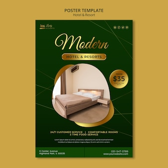 Poster template for hotel and resort Free Psd