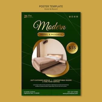 Modello di poster per hotel e resort