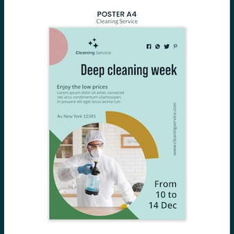 Poster template for house cleaning company