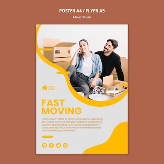 Poster template for house moving company