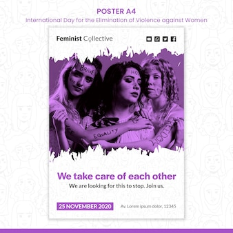 Modello di poster per la giornata internazionale per l'eliminazione della violenza contro le donne