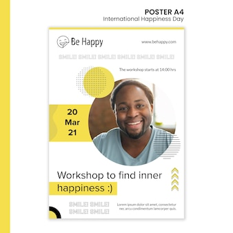 Modello di poster per la giornata internazionale della felicità