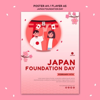 Poster template for japan foundation day with flowers