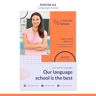 Poster template for language school