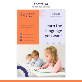 Modello di poster per scuola di lingue