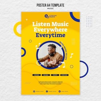 Modello di poster per lo streaming di musica dal vivo