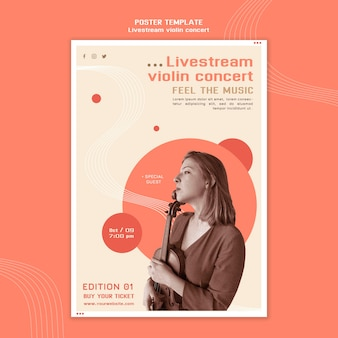 Modello di poster per concerto di violino in live streaming