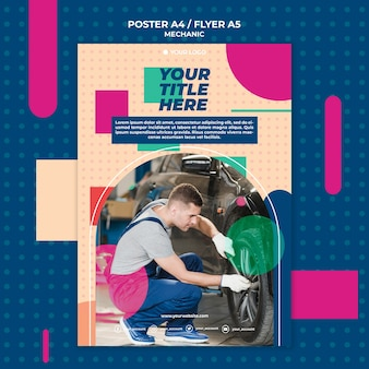 Poster template for mechanic profession