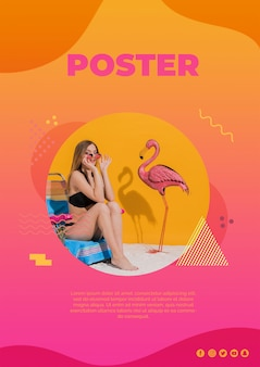 Poster template in memphis style with summer concept