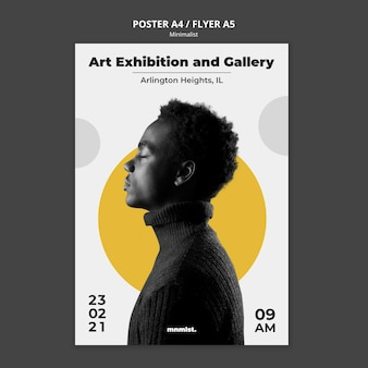 Poster template in minimal style for art gallery with man