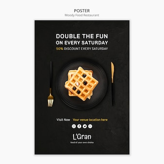 Poster template for moody food restaurant