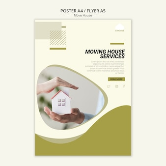 Poster template for moving house services