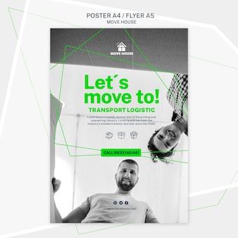 Modello di poster per il tema del servizio in movimento
