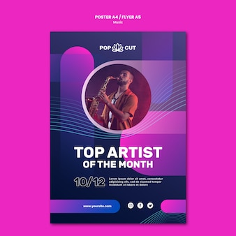 Poster template for music with male jazz player and saxophone