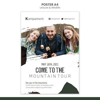 Modello di poster per l'esplorazione della natura e il tempo libero