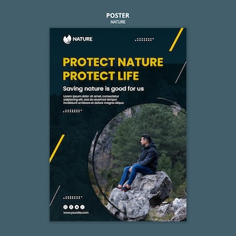 Poster template for nature protection and preservation