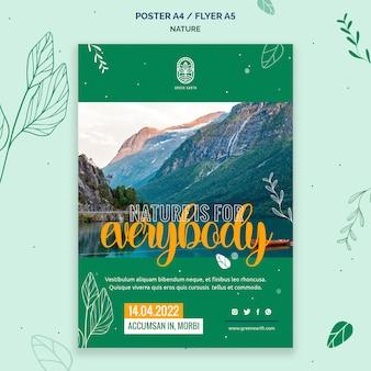Modello di poster per la natura con paesaggio di vita selvaggia