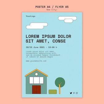 Modello di poster per la nuova città con edifici