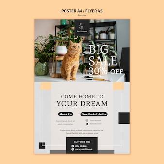 Modello di poster per la nuova casa dei sogni