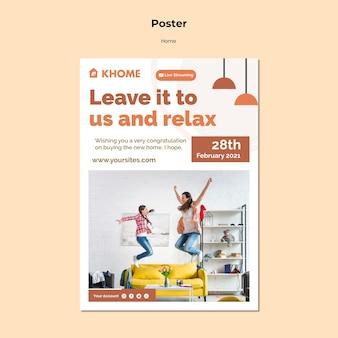 Modello di poster per la nuova casa di famiglia