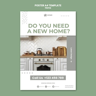 Poster template for new home interior design